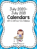 2017-2018 Calendar ~ FREE!  With and Without US Holidays