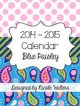 2014 - 2015 Calendar {Blue Paisley}
