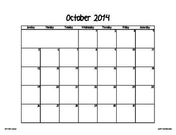 2014-2015 Calendar Pages