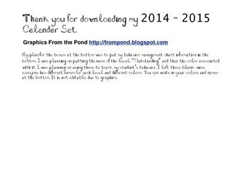 2014-2015 Calendar for Behavior Management