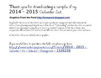 2014-2015 Calendar for Behavior Management Sample