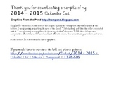 2014-2015 Calendar for Behavior Management Sample