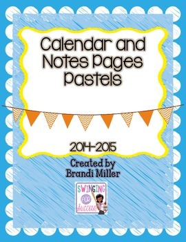 2014-2015 Calendar with Notes Pages--Pastels