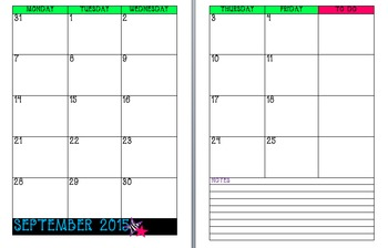 Zebra Calendar with Stars UPDATED for 2015-16