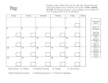 2014-2015 Clip Chart Behavior Calendars