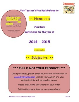 2014-2015 Customized Teacher Planner