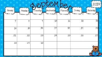 2014 - 2015 Editable Calendar