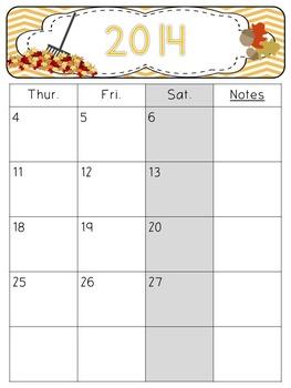 2015-2016 Editable Chevron Teacher Calendars