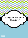 2016-2017 Teacher Lesson Planner (Editable-Aqua Blue)