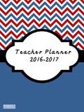 2016-2017 Teacher Lesson Planner (Editable-Dk Blue & Red)