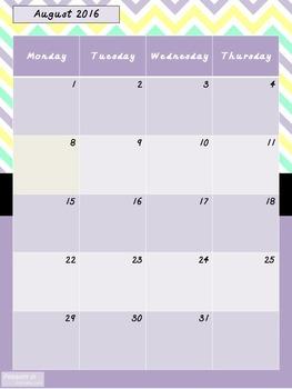 2016-2017 Teacher Lesson Planner (Editable-Purple)