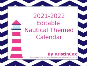 2017-2018 Editable Nautical Calendar