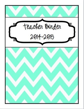 2014-2015 {Editable} Turquoise and Black Chevron Teacher Binder Packet