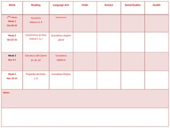 2014-2015 Editable Weekly Lesson Planner