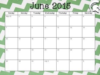 2014-2015 Green Chevron Academic Calendar with Spartan Helmet
