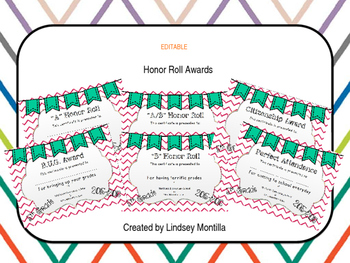 EDITABLE Honor Roll Awards (Pink & Green)