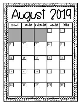 2014- 2015 Monthly Calendar