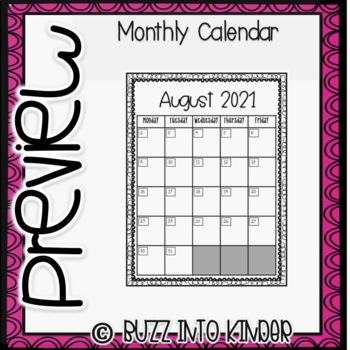 2018- 2019 Monthly Calendar