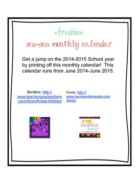 2014-2015 Monthly Calendar