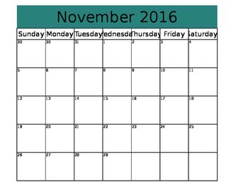 2016-17 Monthly Calendar