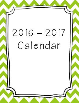 2017 - 2018 Monthly Calendar - Green Chevron
