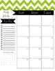 2016-2017 Monthly Calendar - Green Chevron