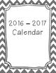 2016-2017 Monthly Calendar Grey Chevron