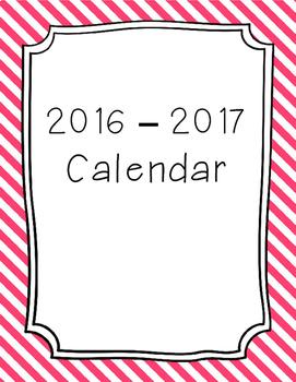 2017 - 2018 Monthly Calendar Pink Stripes