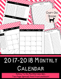2017 - 2018 Monthly Calendar Pink Stripes