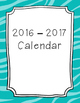2017-2018 Monthly Calendar Turquoise Zebra Print