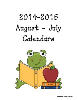 2014-2015 Monthly Calendars