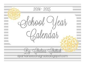 2014-2015 Monthly Calendars