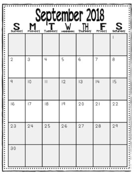 2017-2018 Monthly Calendars (Black and White/Vertical)