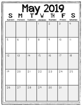 2018-2019 Monthly Calendars (Black and White/Vertical)