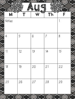 2014-2015 Monthly Calendars without Weekends