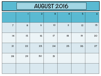 2016 - 2017 Monthly Planning Calendars - Turquoise
