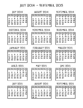 2014-2015 One Page School Calendar