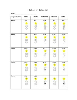 2014-2015 Parent Communication Behavior Calendar