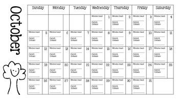 2014-2015 Reading Log Calendar