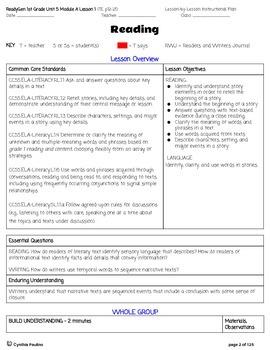 2014-2015 ReadyGen Unit 5 Module A Lesson Plans