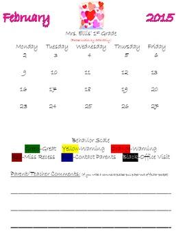 2014 - 2015 School Folder Behavior Calendar