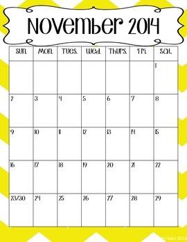 2014-2015 School Year Chevron Calendars