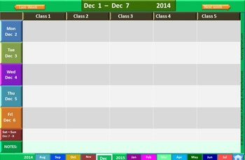 2014 - 2015 Interactive School Year Calendar and Weekly Lesson Planner (PPT)