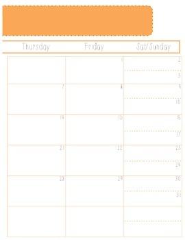 2014-2015 School Year Monthly Planner- PDF