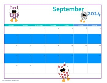 Owl Themed 2014-2015 School Calendar