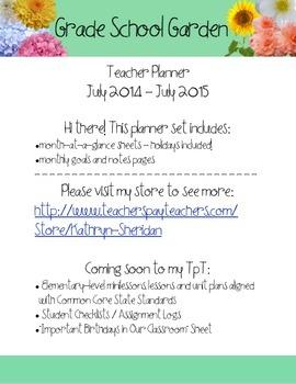 2014-2015 Teacher Calendar *PREVIEW JULY FREE* The Grade School Garden