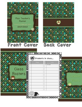 2015-2016 Teacher Planner - Over 100 pages! {Hedgehogs, green, blue, brown}