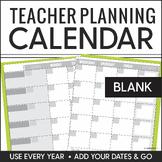 Teacher Planning Calendar Blank Template