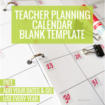 Teacher Planning Calendar Blank Template By Kindergartenworks  Tpt