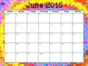 2014-2015 Tye Dye Academic Calendar